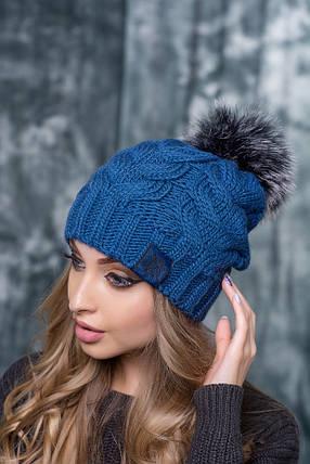 Шапка женская Алегро синяя, фото 2