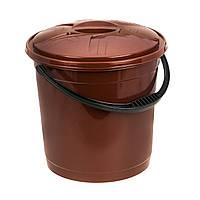 Ведро цветное с крышкой 12л R-Plastic коричневое