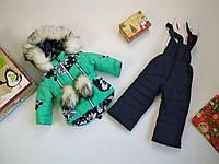 Зимний детский комбинезон для девочки мятный с синим 86-104р