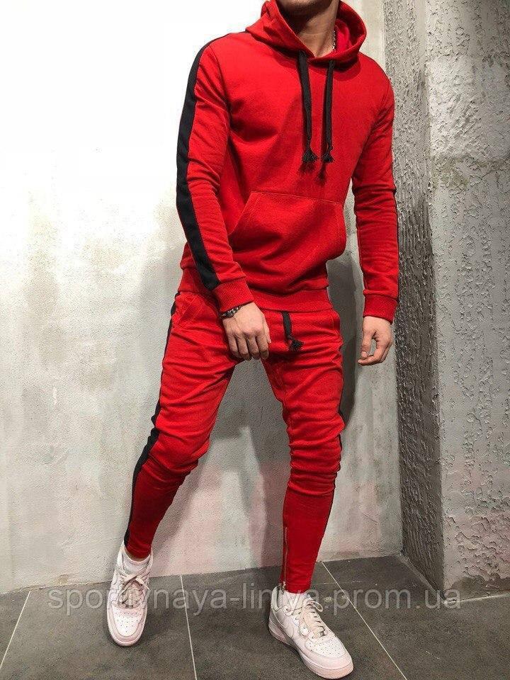 Мужской стильный костюм красный с черной вставкой Турция