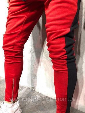 Мужской стильный костюм красный с черной вставкой Турция, фото 2