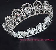 Круглая свадебная корона под серебро,  диадема, тиара, высота 4 см., фото 1