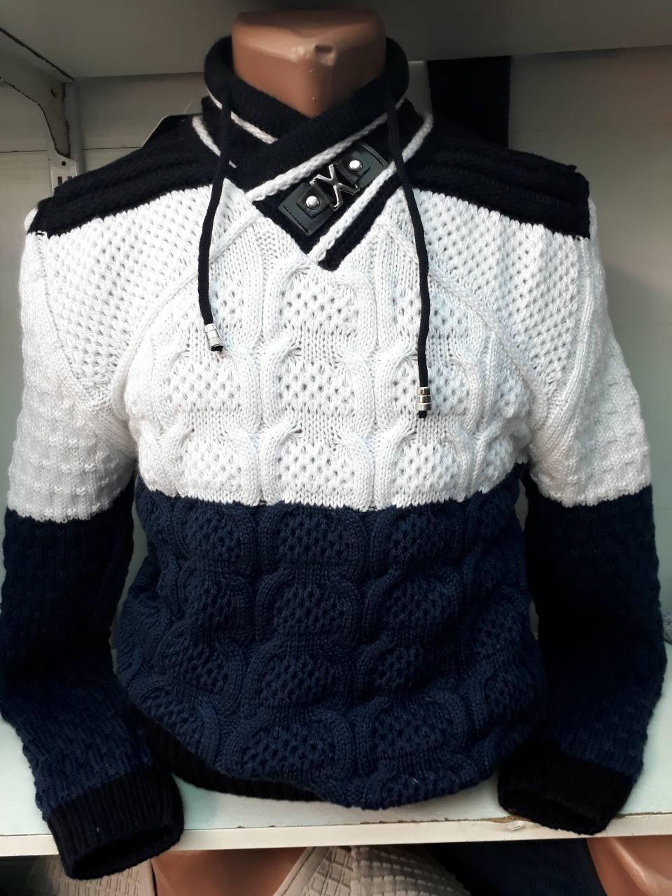 Мужской свитер воротник стойка Турция черно-бело-красный  продажа ... 139faa2738b9f