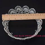 Круглая корона для девочки под серебро,  диадема, тиара, высота 4 см., фото 3