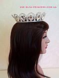 Круглая корона для девочки под серебро,  диадема, тиара, высота 4 см., фото 6