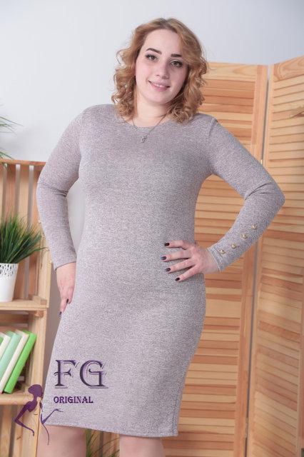 Осеннее платье больших размеров средней длины по фигуре ангора софт  пудровый
