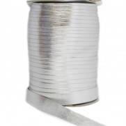 Косая бейка (рулочка) из кожзама серебро, 46 м.