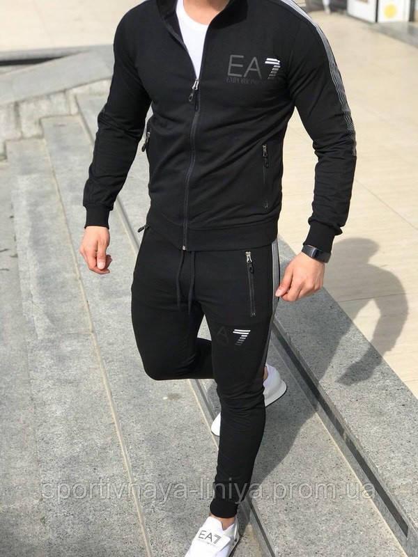 Мужской стильный костюм Armani черный Турция Реплика
