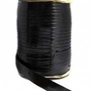 Косая бейка (рулочка) из кожзама чёрная лаковая, 46 м.