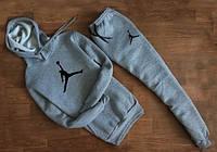 Мужской спортивный костюм Jordan серый с капюшоном (большой логотип)