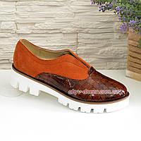 Женские коричневые туфли на утолщенной подошве, рыжий замш и кожа рептилия. 38 размер