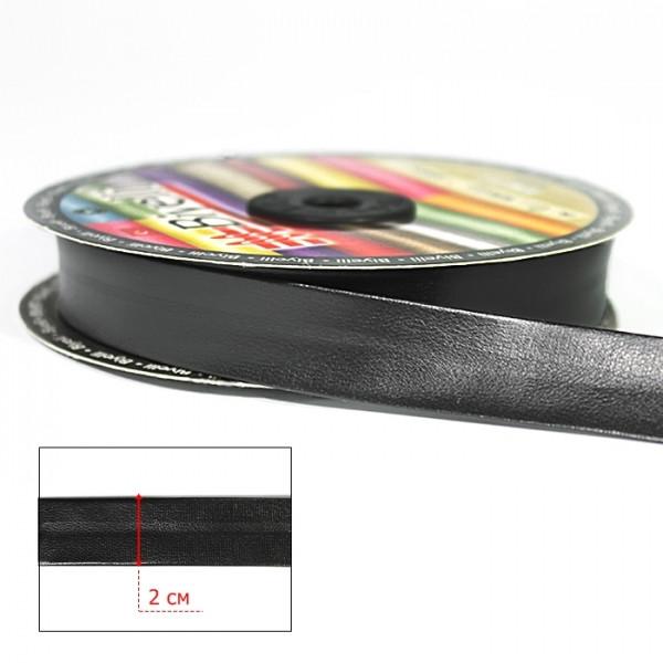 Косая бейка из кожзама черная, 2 см