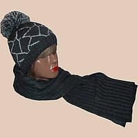 Женская вязаная шапка с помпоном, шарф - петля  c норвежскими орнаментами