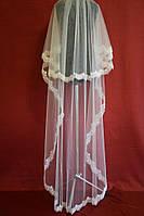 Длинная свадебная фата с бисерным кружевом sf-082
