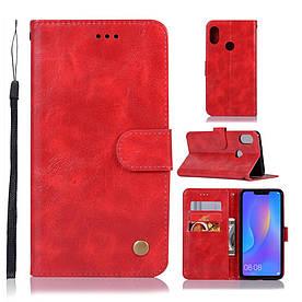 Чехол книжка для Huawei P Smart Plus | Nova 3i боковой с отсеком для визиток, Premium Vintage, красный