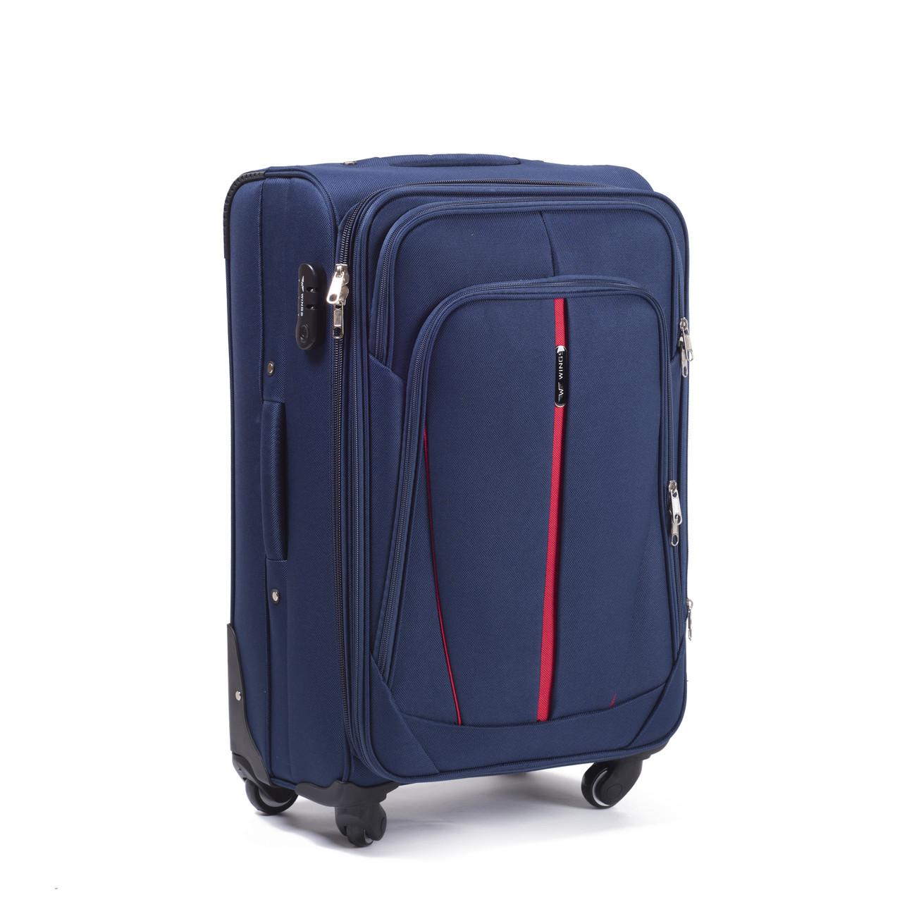 Средний колесный чемодан Wings 1706-24-4 синий, 75 л