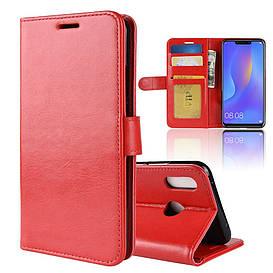 Чехол книжка для Huawei P Smart Plus   Nova 3i боковой с отсеком для визиток, Гладкая кожа, красный