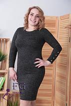 Модное платье батал демисезонное приталенное миди с пуговицами темно синее, фото 2