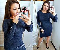 Модное платье батал демисезонное приталенное миди длинные рукава с  пуговицами темно синее f675d6df0f279