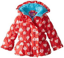Осенняя курточка с рюшами в сердечках (Размер 12-18см)  Pink Platinum (США)