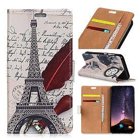 Чехол книжка для Huawei P Smart Plus | Nova 3i боковой с отсеком для визиток, Эйфелева башня и часы