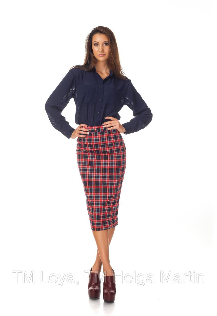 Женская юбка карандаш клетка. Ю065