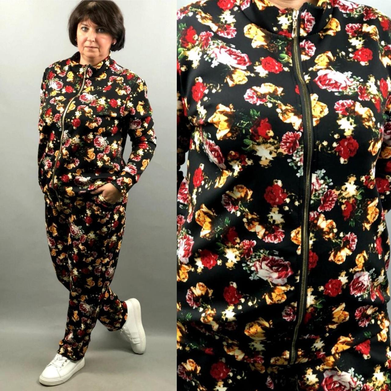 """Стильный женский костюм кофточка+брючки """"дайвинг"""" 52, 54, 56, 58, 60 размеры баталы"""