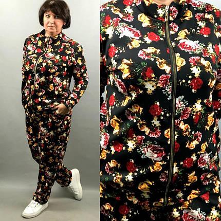 "Стильный женский костюм кофточка+брючки ""дайвинг"" 52, 54, 56, 58, 60 размеры баталы, фото 2"
