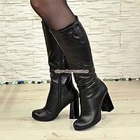 Сапоги черные кожаные демисезонные на устойчивом каблуке, фото 1