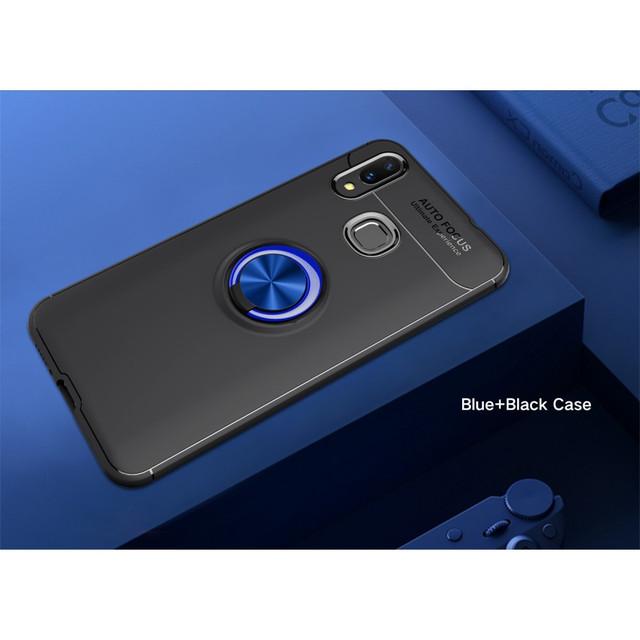 чехол накладка Huawei p smart Plus с магнитным кольцом синий