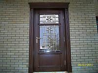 Дверь входная дубовая со стеклопакетом