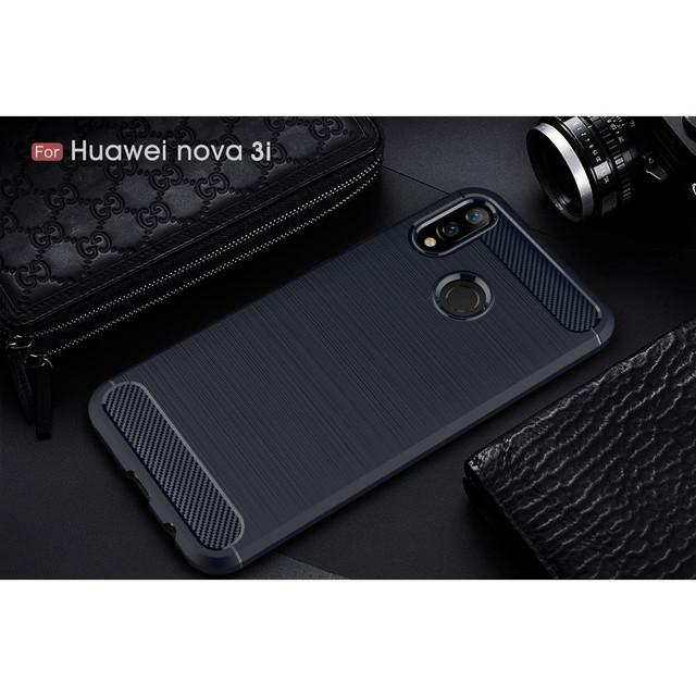 чехол накладка Huawei p smart Plus carbon fiber темно-синий