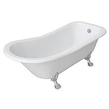 Ванна 176*73*73/58см, отдельно стоящая на львиных лапах (серебро), акриловая