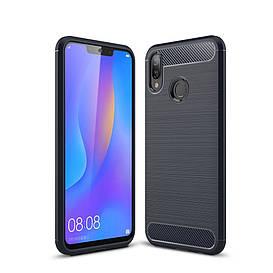 Чехол накладка для Huawei P Smart Plus | Nova 3i силиконовый, Carbon Fiber, темно-синий