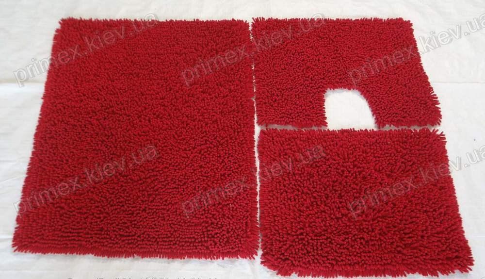 Коврик для ванной хлопковый, 50*60см. цвет красный. Набор для ванной комнаты цена