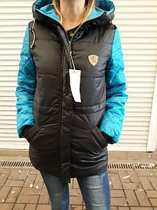 Женская осень- зима зимняя куртка черно-синяя