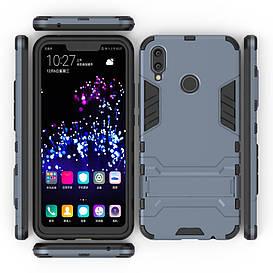 Чехол накладка для Huawei P Smart Plus | Nova 3i противоударный силиконовый с пластиком, Alien, темно-синий