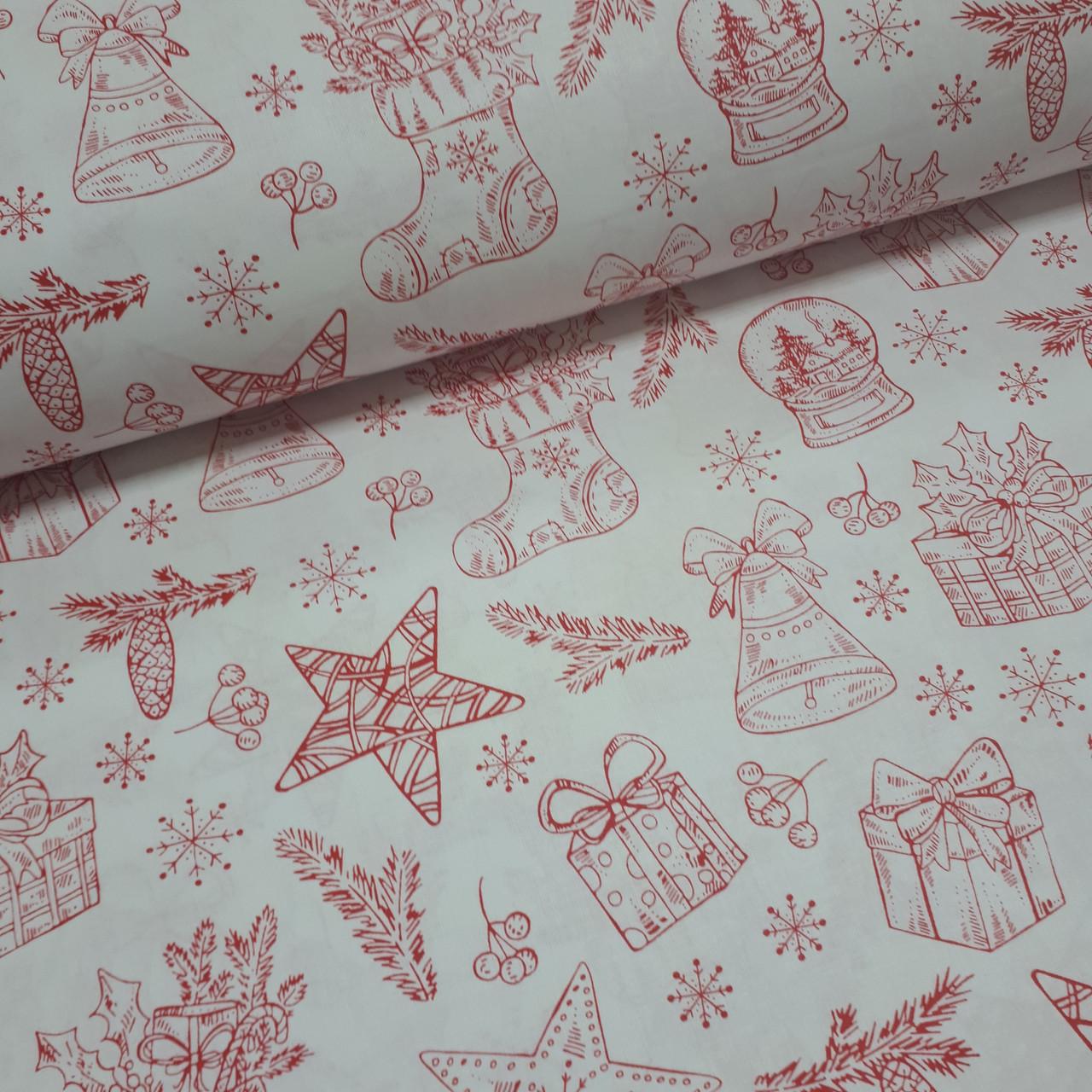Ткань польская хлопковая, новогодние игрушки красного цвета на белом