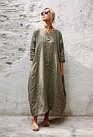 Сукня з щільного льону бочка, бохо, трапеція широке осінь-весна. Великий і стандартних розмір. Колір на вибір