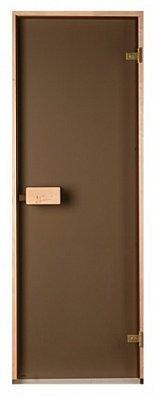 Стеклянная дверь для бани и сауны Classic прозрачная бронза 80/200 (осина)