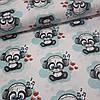 Ткань польская хлопковая, панда в наушниках на лазурном