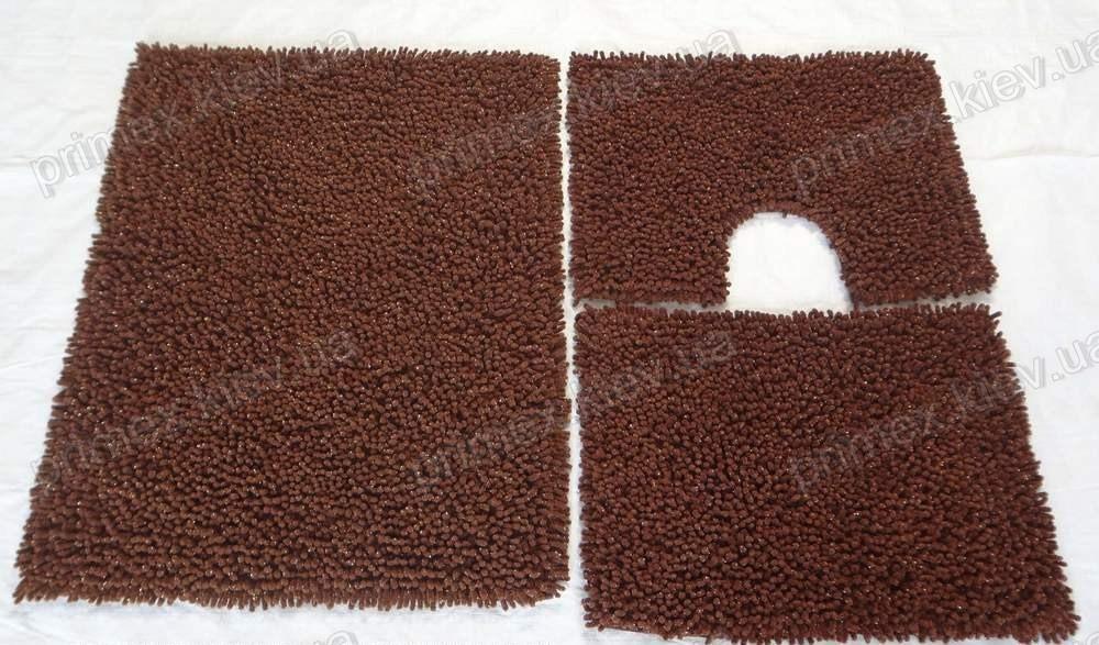 Коврик для ванной хлопковый с люрексом, 50*60см. цвет коричневый. Набор для ванной комнаты цена