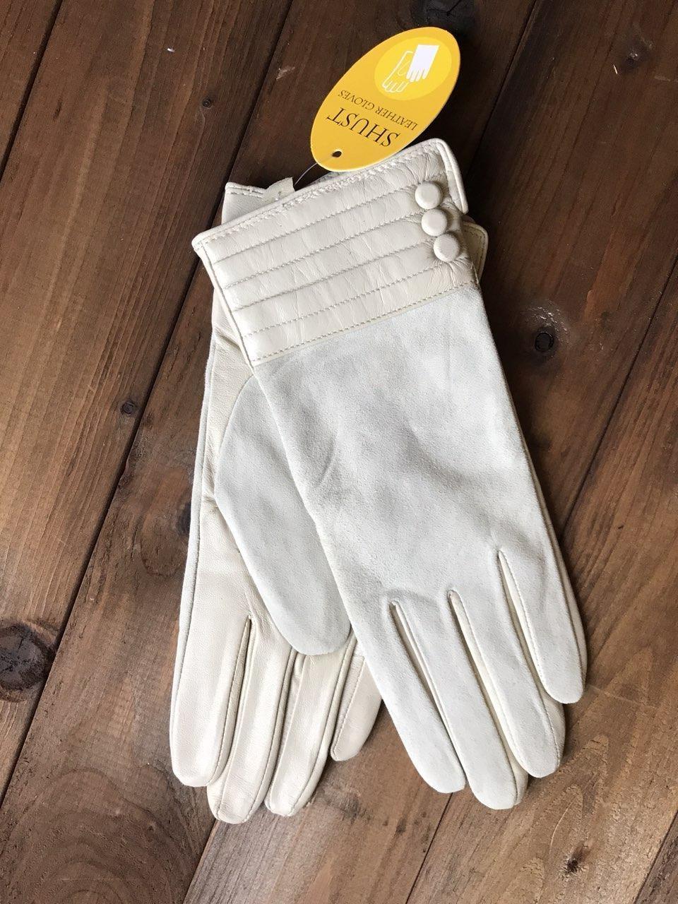Женские комбинированные перчатки кожа+замша 797s3 Большие