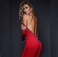 Красное облегающее платье с молнией на спине и на длинный рукав (S, M, XL)