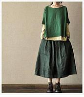 Женская плотная льняная юбка, широкая, боченок, пышная, обьъемна. Цвет на выбор , фото 1