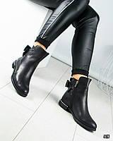 Ботинки женские с бантом черные, фото 1