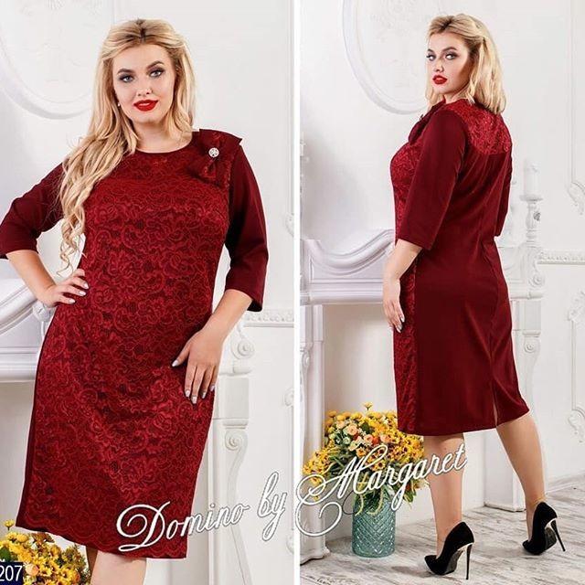 """Стильное женское платье бантом и брошью """"ткань креп-дайвинг"""" 52 размер батал"""