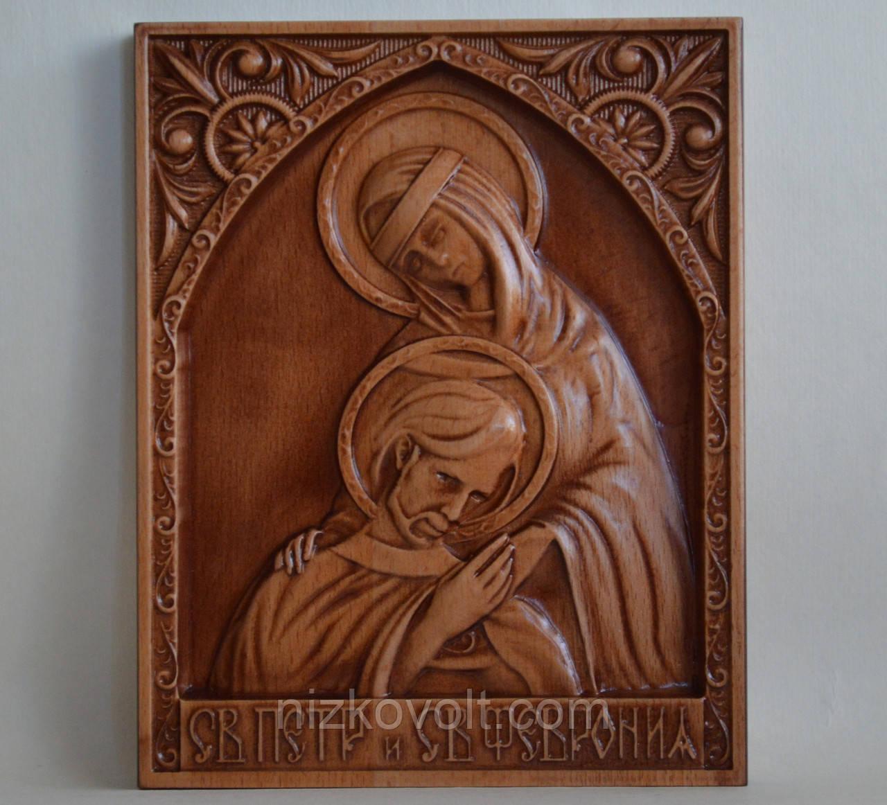 Икона Петра и Февронии - резьба на дереве (160х200х18)