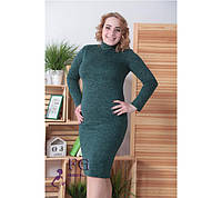 Модное платье большой размер миди облегающее длинный рукав под горло ангора темно зелёное