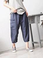 Модно Лляні щільні жіночі штани для осені весни пустунчика, чінос, шаровари, стильні casual ., фото 1